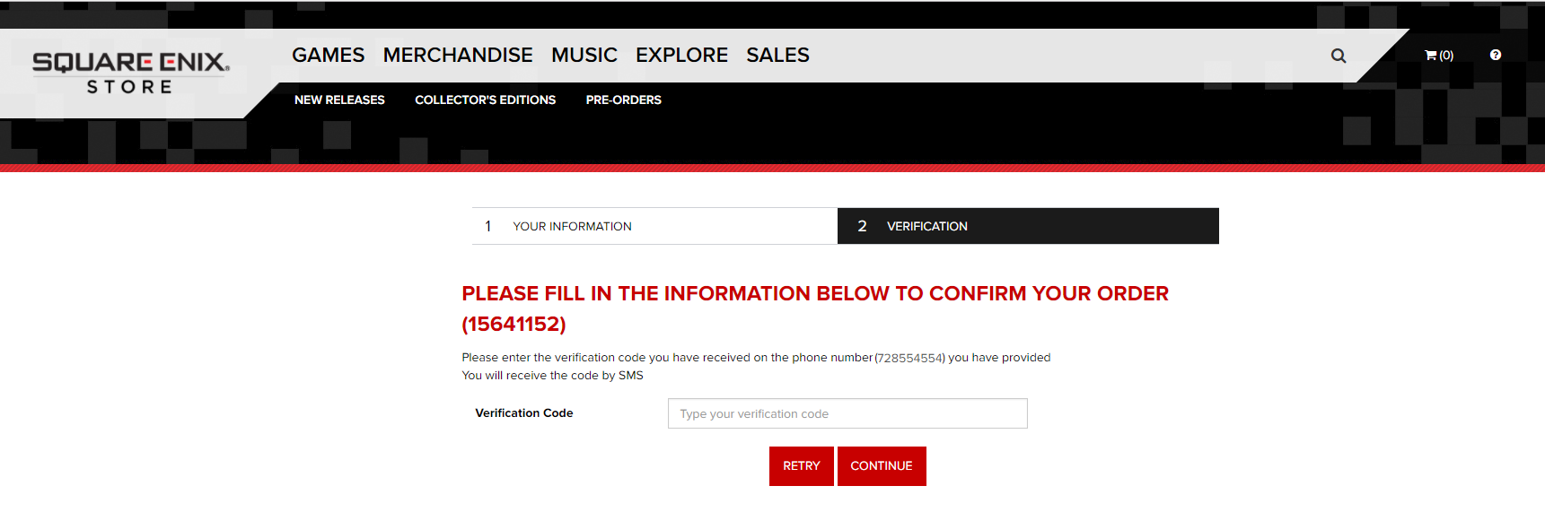 SMS Confirmation – SQUARE ENIX US STORE SUPPORT